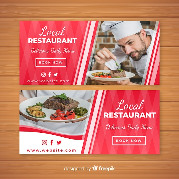 Modern restaurant banners with photo Free Vector