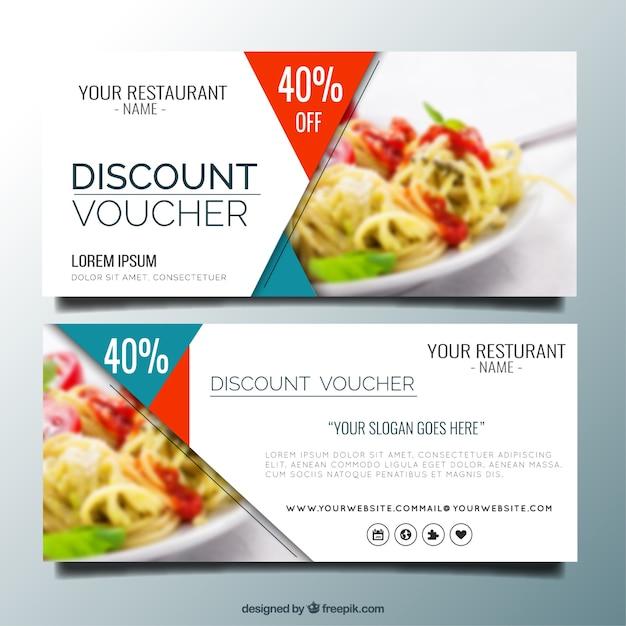 Modern restaurant discount banners Free Vector