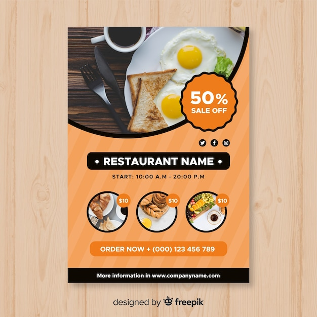 modern restaurant flyer template vector free download