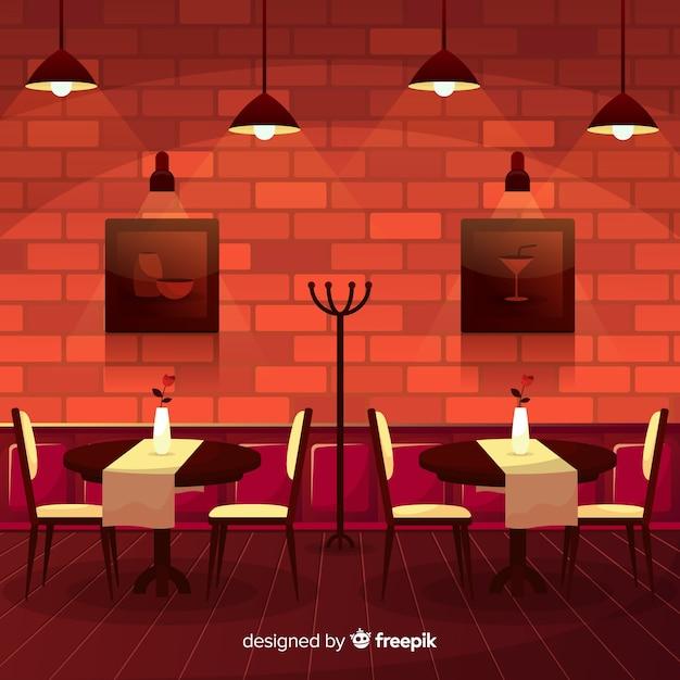 Restaurant Interieur Design.Modern Restaurant Interior With Flat Design Vector Free