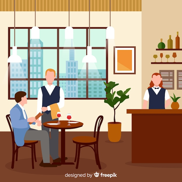 Modern restaurant interior with flat design vector free