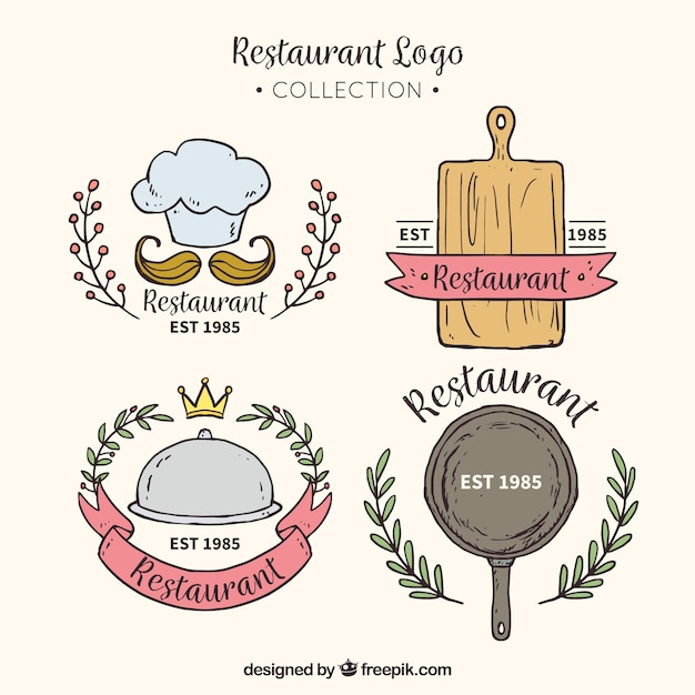 Modern restaurant logo collection Free Vector