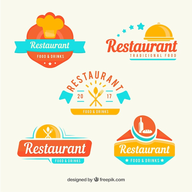 Modern restaurant logos with fun style