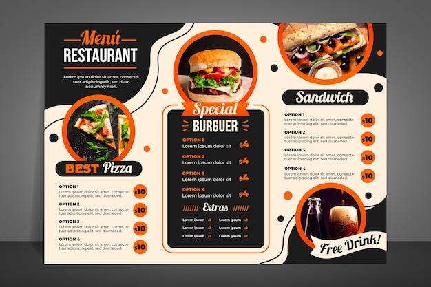 Современное меню ресторана для гамбургеров Бесплатные векторы