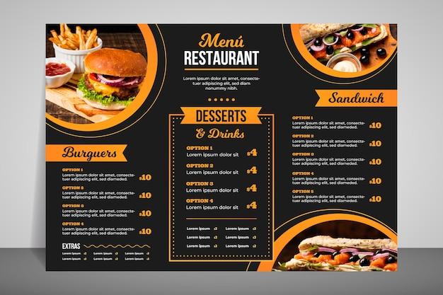 Современное меню ресторана для быстрого питания Бесплатные векторы