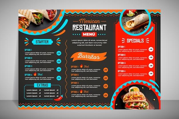 Современное меню ресторана для тако Бесплатные векторы