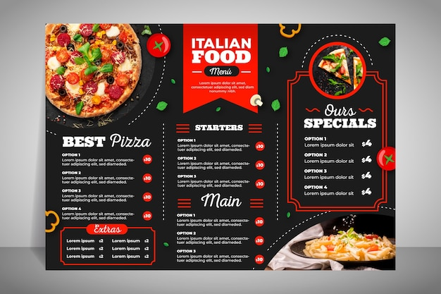 Modern restaurant menu for pizza Free Vector