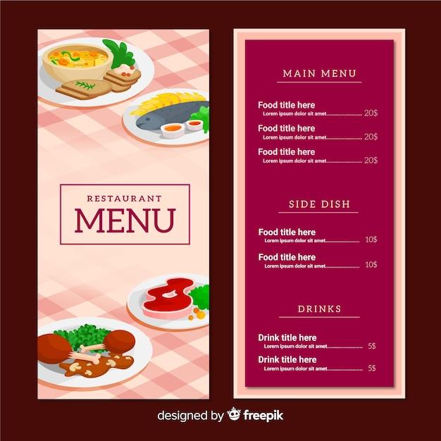 Modern restaurant menu template Free Vector