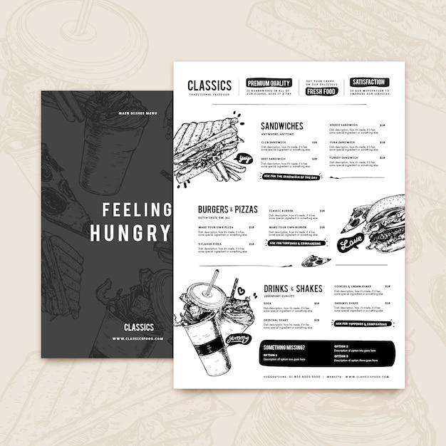 Шаблон меню современного ресторана Бесплатные векторы