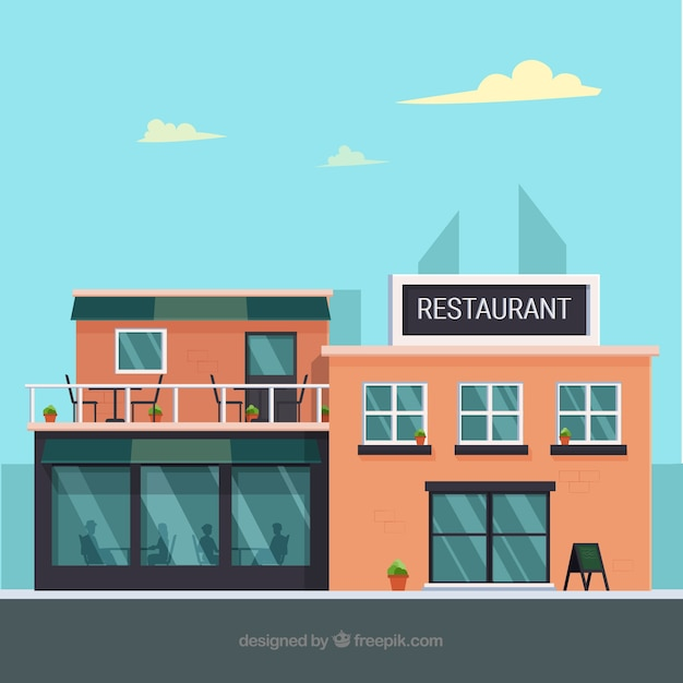 Modern restaurant with flat design Free Vector