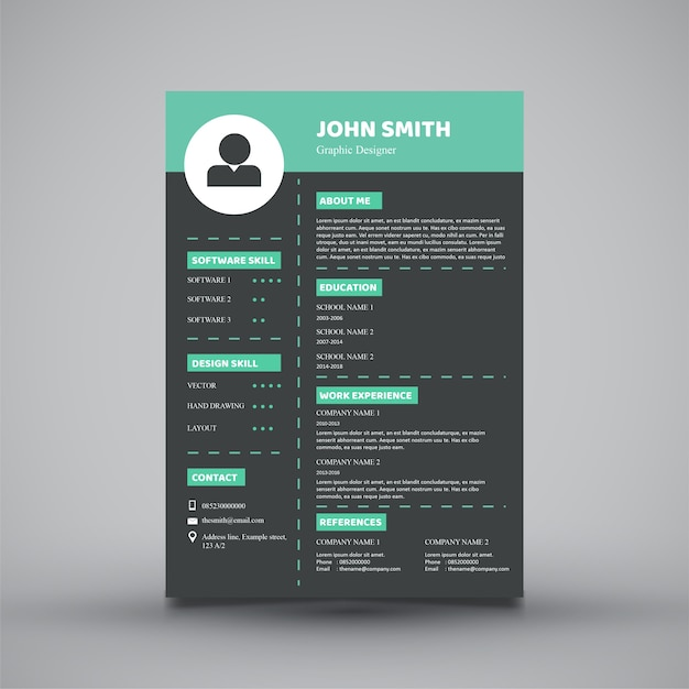 Modern Resume Template Design Vector  Premium Download