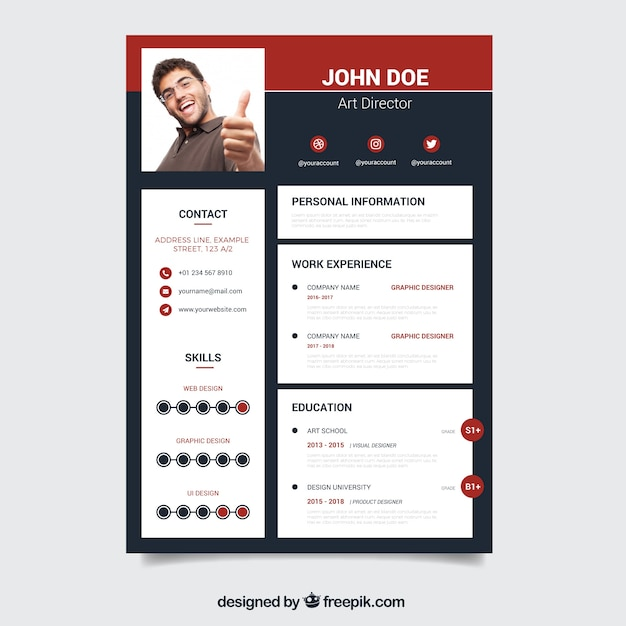 modern resume template with skills vector