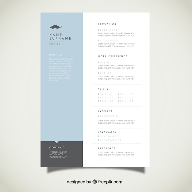Modern Resume Template Vector Free Download