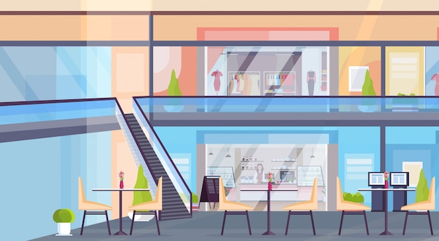 Modern retail shopping mall with clothes boutique store and coffee shop empty no people supermarket interior horizontal flat Premium Vector