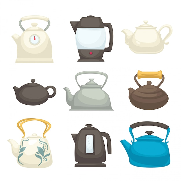 Modern and retro kettles set of all designs. teapots of fragile Premium Vector