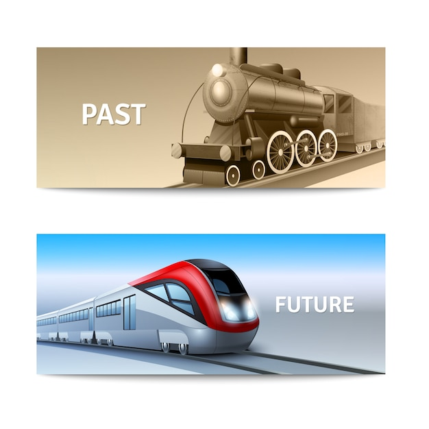Modern and retro train locomotives horizontal banner set Free Vector