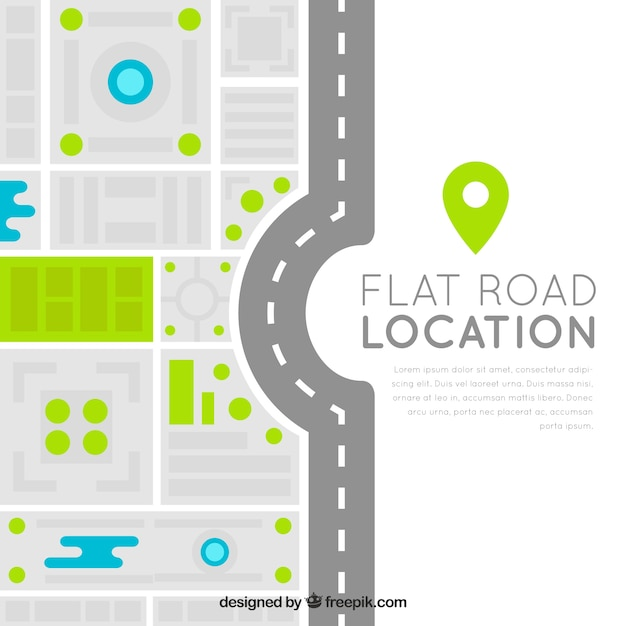 modern road map in flat design vector free download