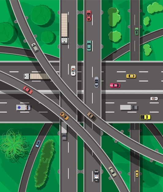 Modern roads and transport. top view. Premium Vector