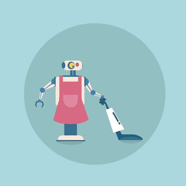 掃除機アイコン、未来的な人工知能メカニズムハウスキーピング技術で現代のロボット掃除 Premiumベクター