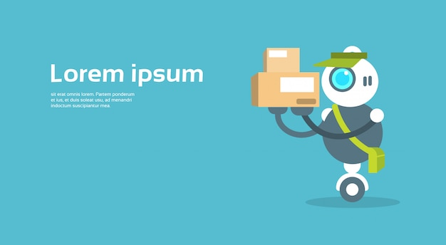 Modern robot courier artificial intelligence technology concept Premium Vector