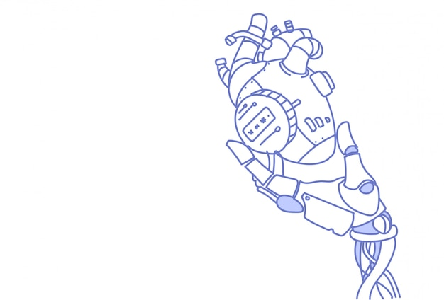 Modern robot hand holding steel robotic heart artificial intelligence assistance Premium Vector