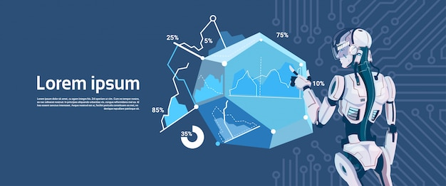 Modern robot hold loading graphic diagram, futuristic artificial intelligence mechanism technology Premium Vector
