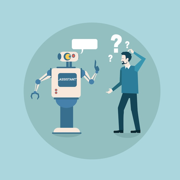 Modern robot think problem with business man futuristic artificial intelligence mechanism technology Premium Vector