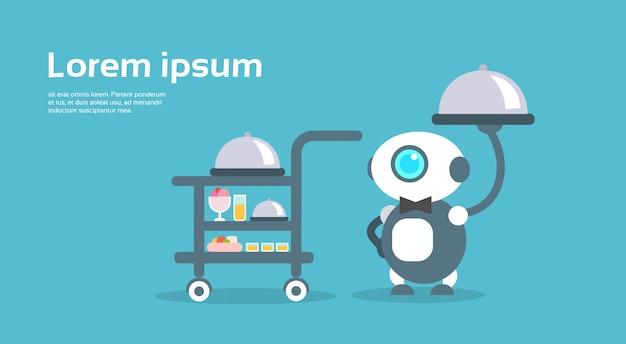 Modern robot waiter artificial intelligence technology concept Premium Vector