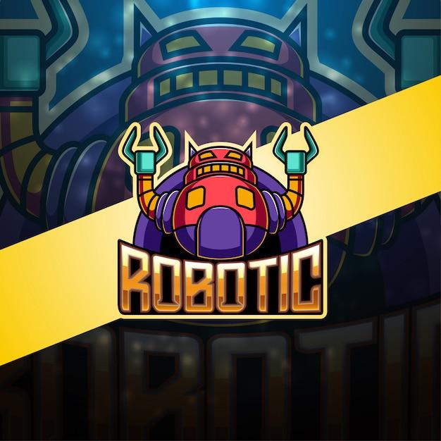 現代のロボットeスポーツマスコットロゴ Premiumベクター