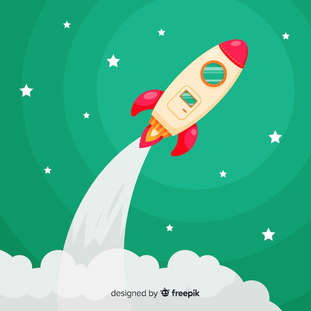 Modern rocket composition with flat design Free Vector