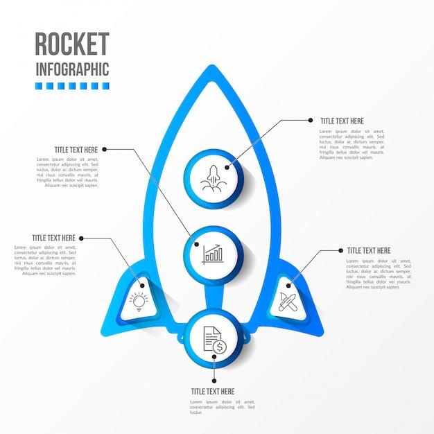 Современная ракетная инфографика с 3d столом Premium векторы