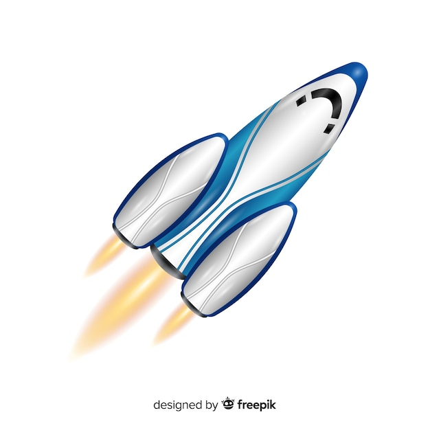 Modern rocket with realistic design Free Vector