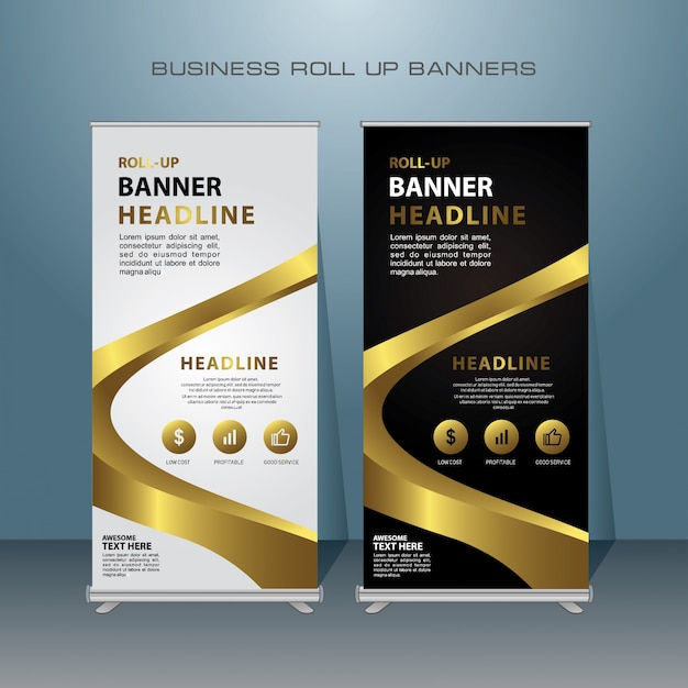 Modern roll up banner design with gold color Premium Vector