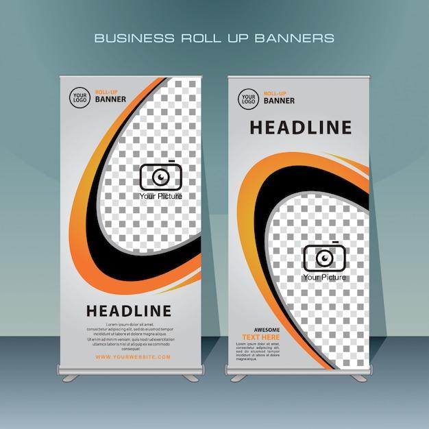 Modern roll up banner design with orange color Premium Vector