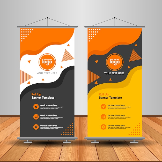 Modern roll up banner with abstract shape Premium Vector