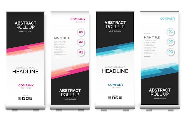 Modern roll up banner with abstract shapes Free Vector