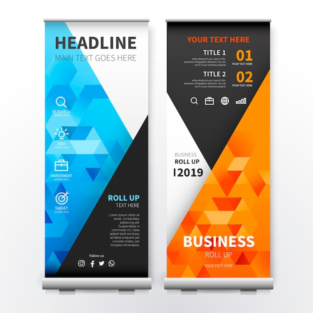 Modern roll up banner with colorful triangles Free Vector