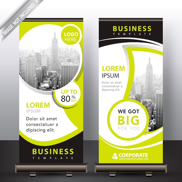 Modern roll up banners Free Vector