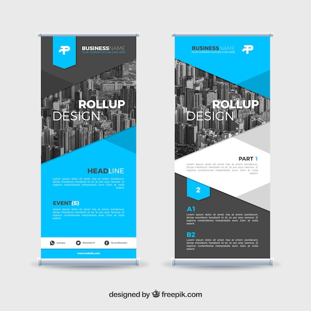 Très Modern roll up design for new companies Vector | Free Download QS91