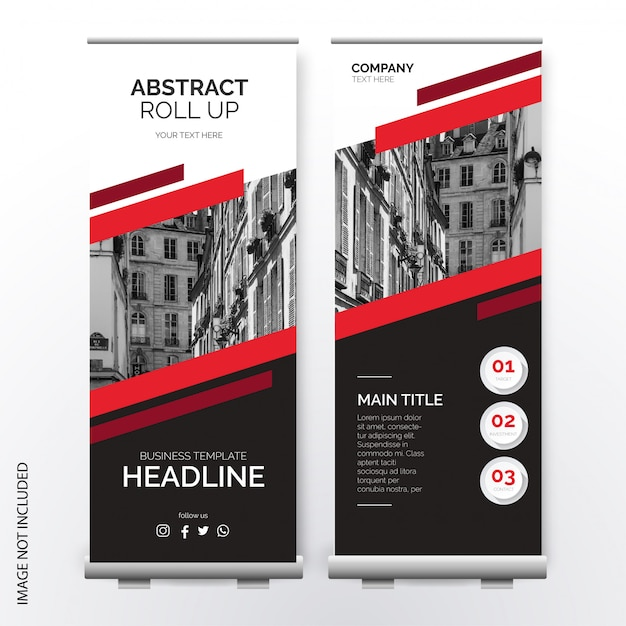 Modern roll up template with abstract shapes Free Vector