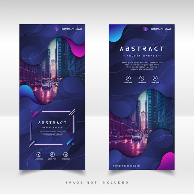 Modern roll up vertical banner with gradient liquid abstract background Premium Vector