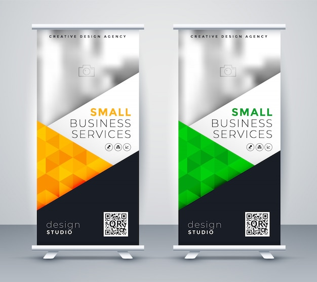 Modern rollup display banner for marketing Free Vector