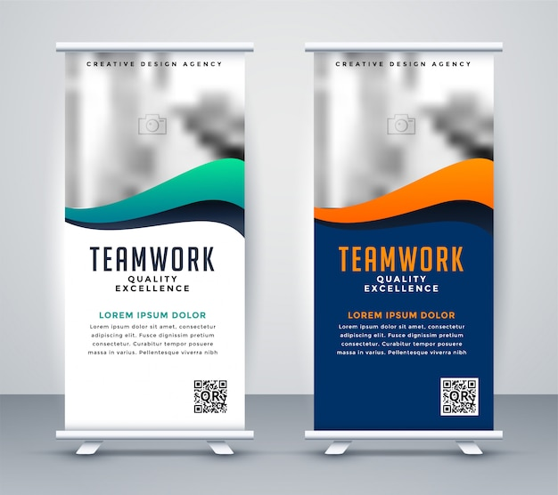 Modern rollup standee banner for marketing Free Vector