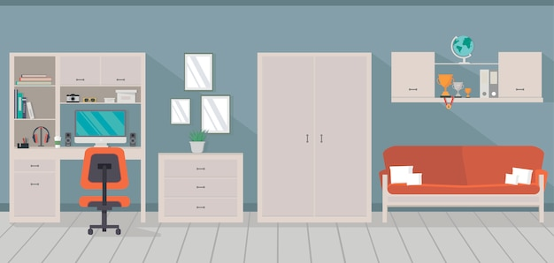 Modern room interior with trendy workspace, sofa, cupboard and chest of drawers in flat style. Premium Vector
