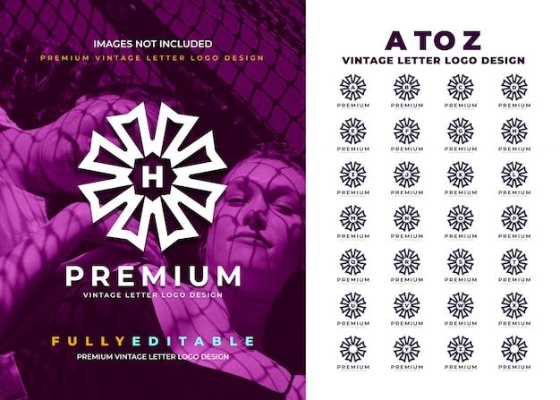 モダンなラウンドaからzヴィンテージ文字ロゴ Premiumベクター