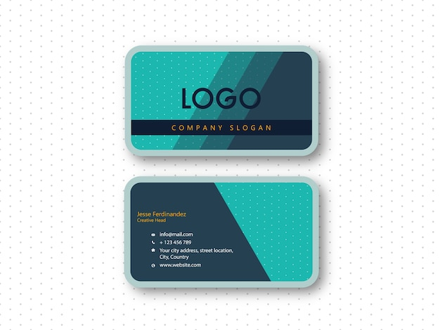 Modern Rounded Corner Double Side Business Card Template Vector - Rounded corner business card template