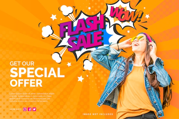Modern sale banner in colorful comic style Free Vector