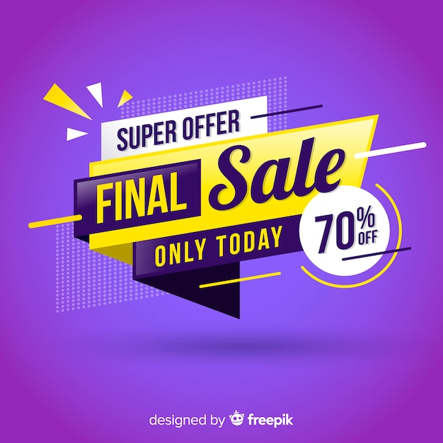 Modern sale banner in flat design Free Vector