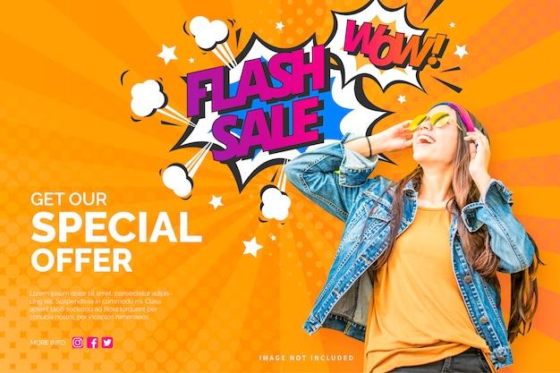 カラフルなコミックスタイルのモダンな販売バナー 無料ベクター
