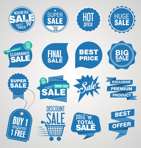 Modern sale banners and labels collection Premium Vector